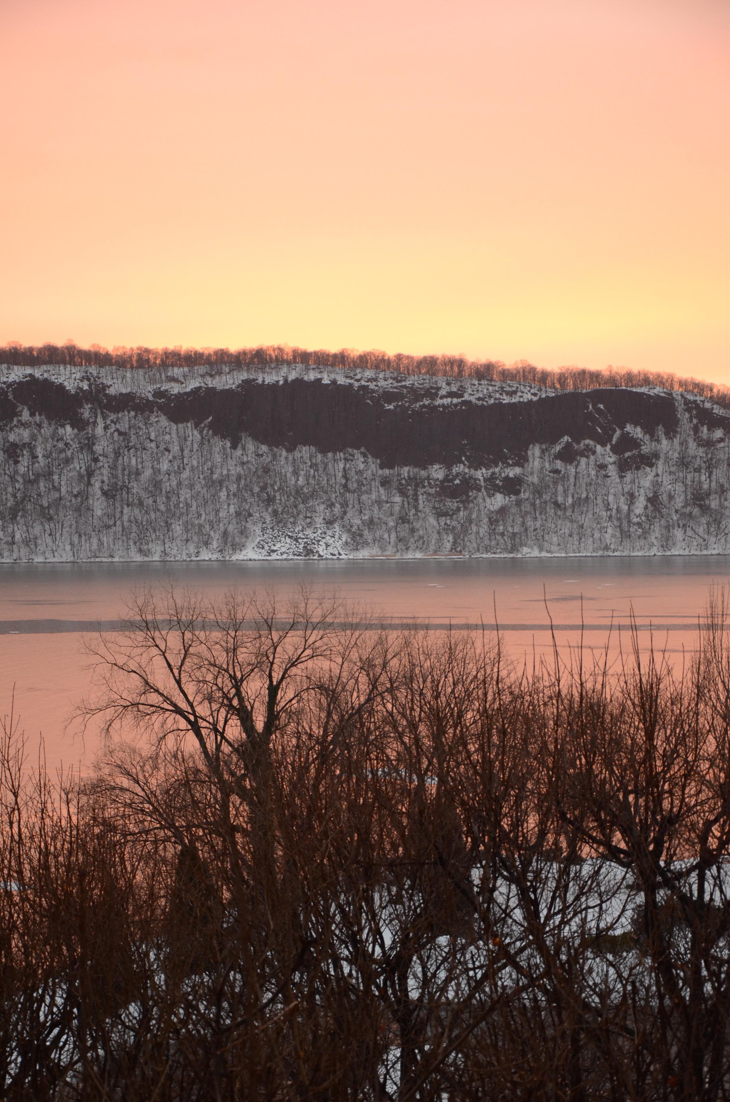 Hudson River Views Winter Palisades Pink